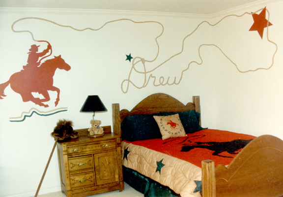 Cowboy mural matches child s dreams ruthie lowen for Cowboy wall mural